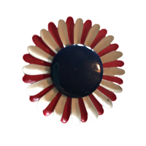 Charming Red White and Blue Enameled Metal Daisy Brooch circa 1960s