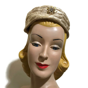 Ivory and Gold Metallic Fabric Pillbox Hat circa 1960s