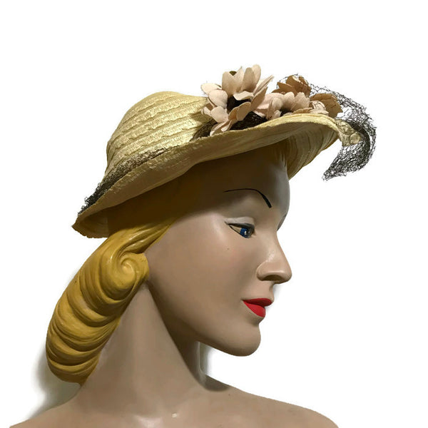 Natural Sisal Open Crown Hat with Flowers circa 1940s