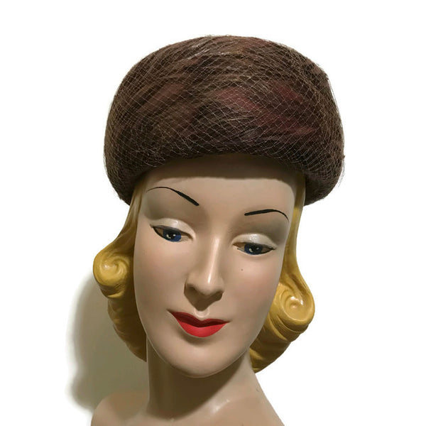 Bronze and Cocoa Swirled Feather Rounded Pill Box Hat circa 1960s