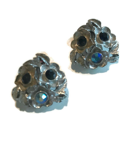 Smokey Blue and Silver Tone Metal Flower Earrings circa 1960s