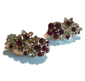 Ruby Red Rhinestone Flower Clip Earrings circa 1950s
