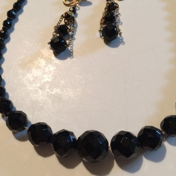 Faceted Black Beaded Necklace and Dangling Earrings circa 1950s