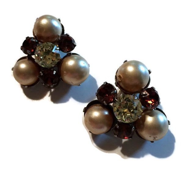 Glam Amber Colored Rhinestone and Faux Pearl Clip Earrings circa 1960s