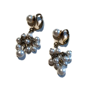 Flirty Fun Faux Pearl Dangle Clip Earrings circa 1960s