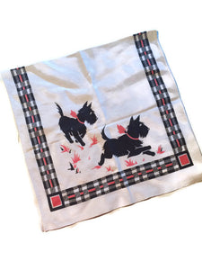 Scottie Dog Plaid Edged Kitchen Towel circa 1930s