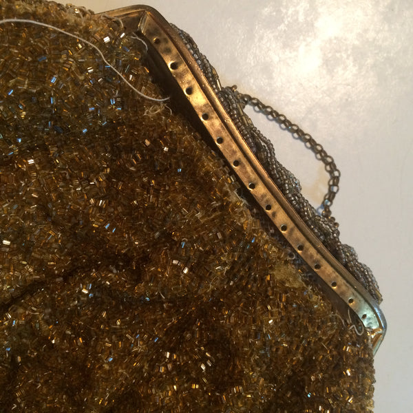 Amber Glass Beaded Metal Frame Evening Bag circa 1930s