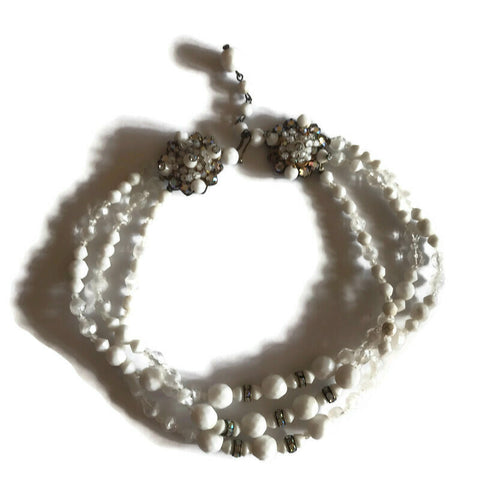Glitzy White Glass Beaded Necklace with Rhinestones circa 1950s