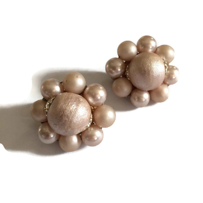Champagne Textured Beaded Button Clip Earrings circa 1960s