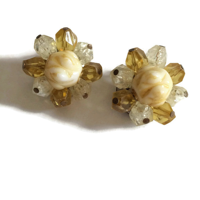 Yellow Crystal Shaped Beaded Button Clip Earrings circa 1960s