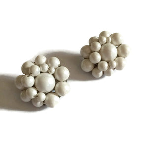 White Beaded Button Clip Earrings circa 1960s