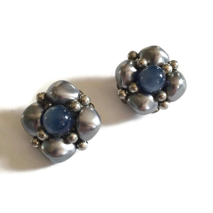 Blue and Silver Beaded Button Clip Earrings circa 1960s