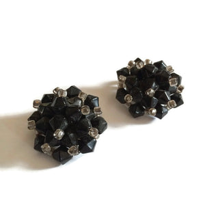 Black and Clear Abstract Beaded Clip Earrings circa 1960s