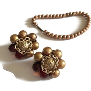 Brassy Beaded Clip Earrings and Maiden Bracelet circa 1960s