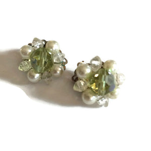 Weiss Crystal Center Faux Pearl Cluster Earrings circa 1960s
