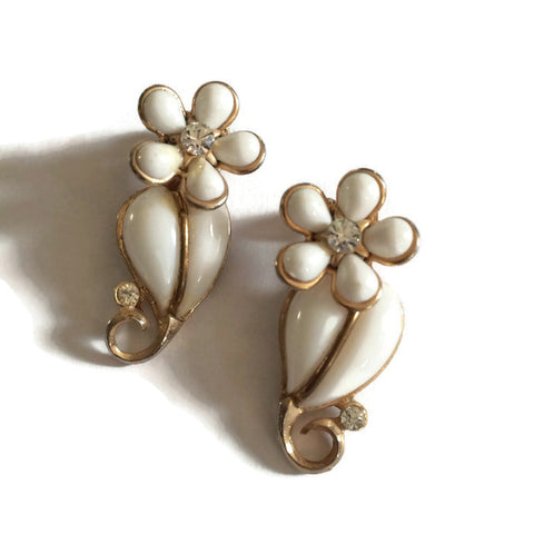 White Thermoset Plastic Flower and Rhinestone Earrings circa 1950s