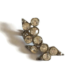 Crescent Shaped Rhinestone Scatter Pin Brooch circa 1940s