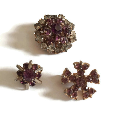 Amethyst Colored Rhinestone Trio of Scatter Pins circa 1940s
