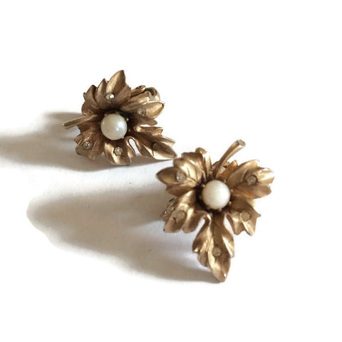 Rhinestone Studded Pierced Golden Leaf Earrings circa 1950s