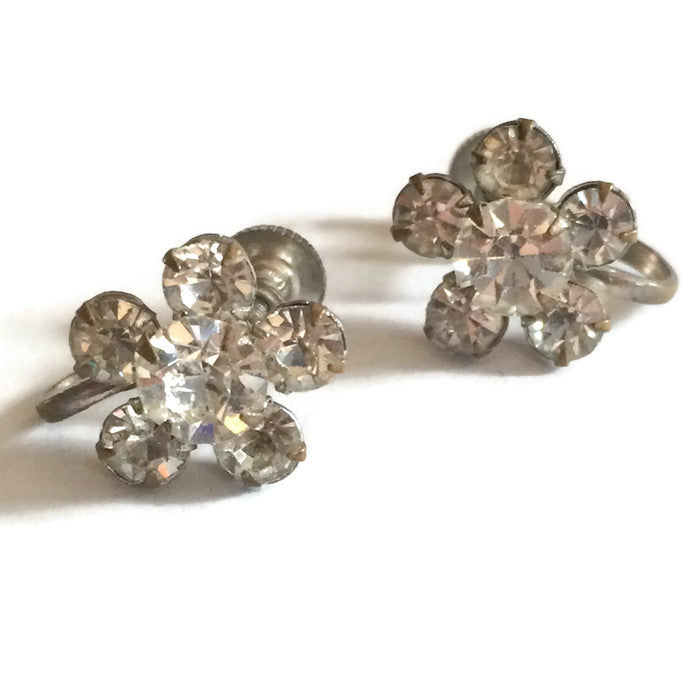 Tiny Sparkling Rhinestone Cluster Earrings circa 1940s