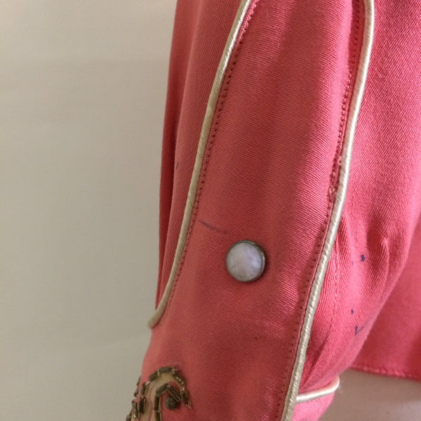 Crystal Trimmed Hand Painted Salmon Pink Gabardine Western Shirt circa 1940s