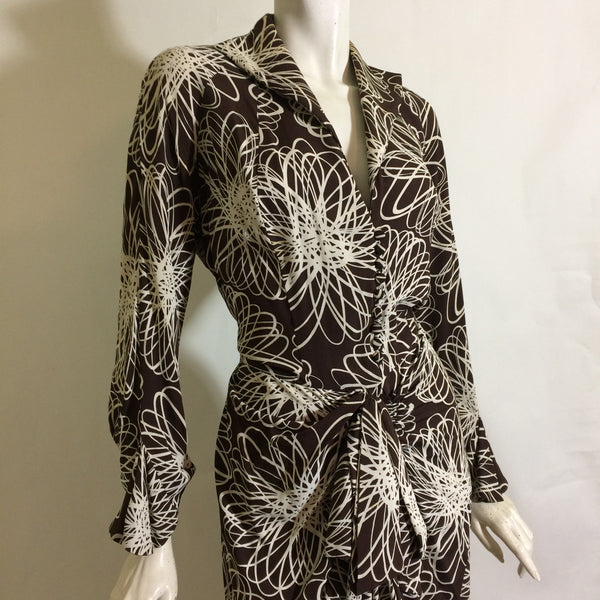 Cocoa and White Scribble Floral Print Draped Waist Rayon Dress circa 1940s
