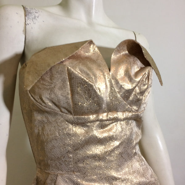 Bombshell Metallic Gold Strapless Winged Bust Strapless Wiggle Dress circa 1950s