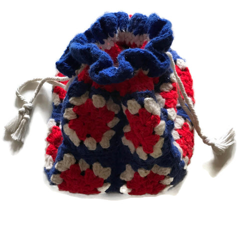 Red White and Blue Crochet Granny Square Handbag circa 1970s
