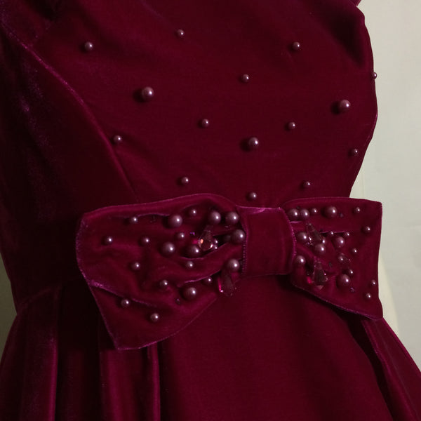 Brilliant Fuchsia Velvet Empire Waist Beaded Dress circa 1960s