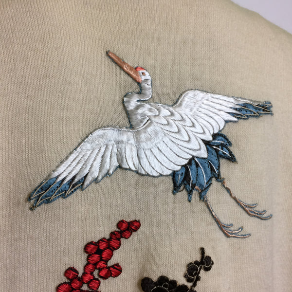 Helen Bond Carruthers Cashmere Sweater with Cranes and Flowers Embroidered Appliques circa 1950s