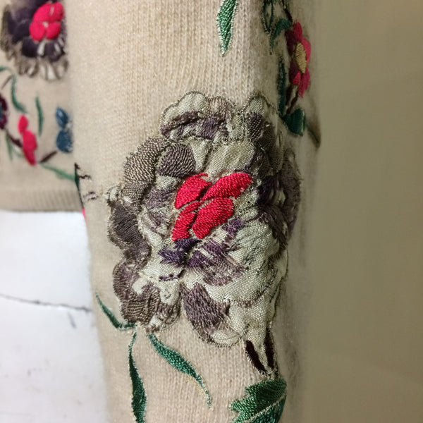 On Layaway Helen Bond Carruthers Ivory Cashmere Sweater with Peacock and Florals Embroidered Appliques circa 1950s
