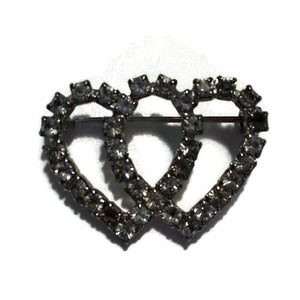 Two of Hearts Sparkling Rhinestone Brooch circa 1950s
