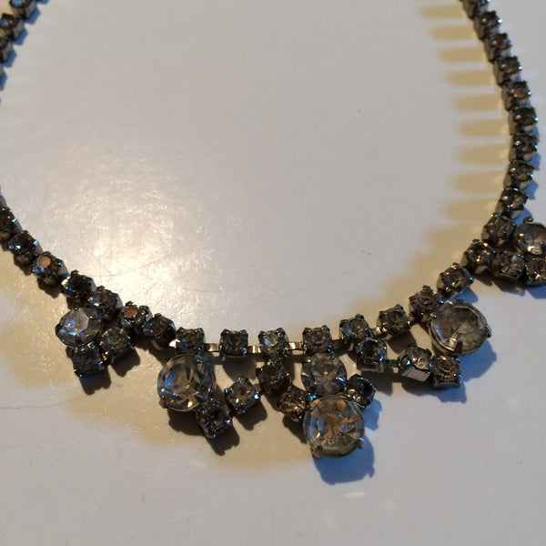 Glam Clear Rhinestone Choker Necklace circa 1950s