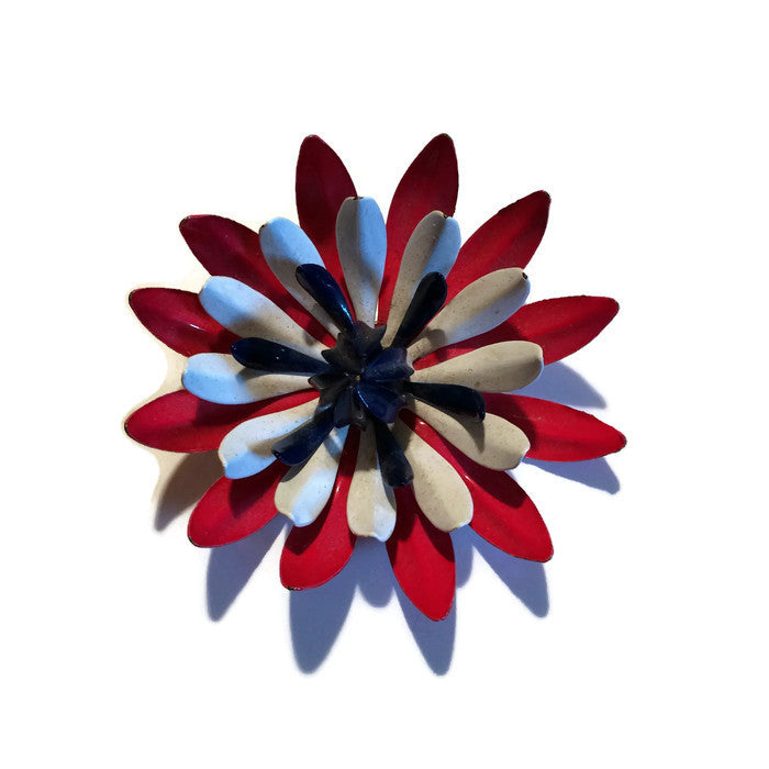 Red White and Blue Enameled Metal Flower Brooch circa 1960s
