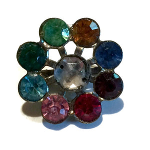 Multicolored Rainbow Cluster Mini Brooch circa 1950s