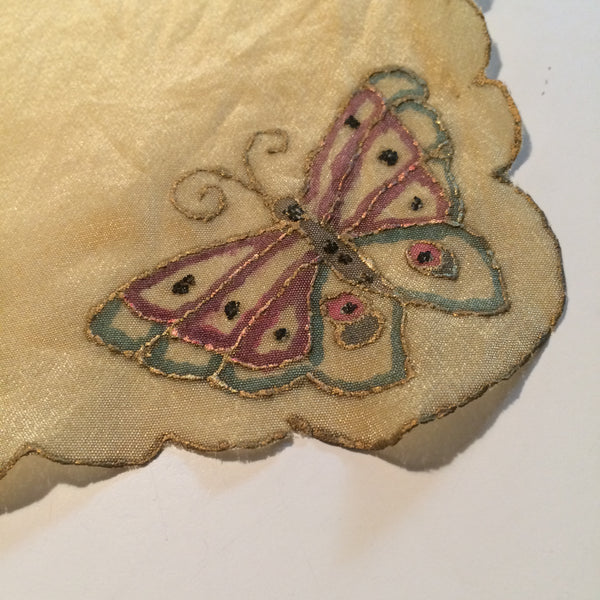 Hand Painted Gilded Butterfly Silk Hanky Pocket Square circa 1920s