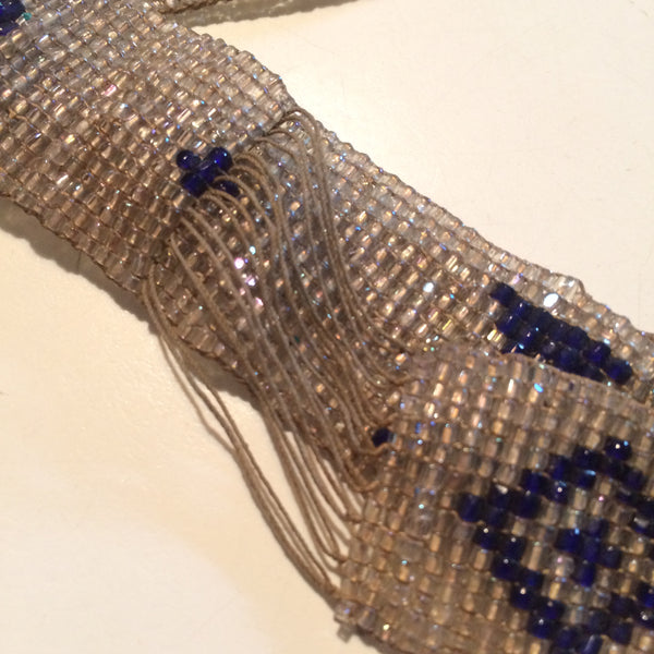Silver and Blue Glass Beaded Flapper Headband circa 1920s