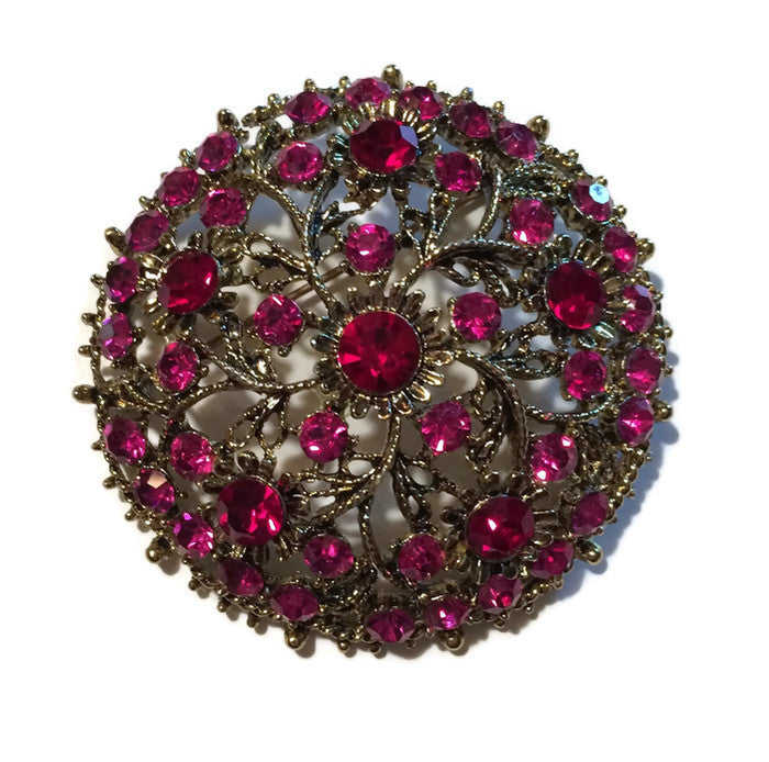 Red and Pink Pinwheel Design Gold Tone Metal Statement Brooch circa 1960s