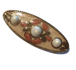 Peachy Pastel Faux Pearl Dotted Oval Brooch circa 1980s