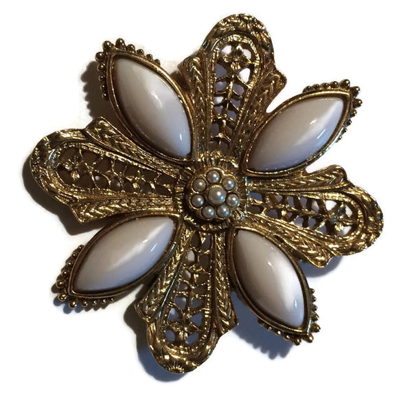 Gold and White Pearlized Lucite Brooch circa 1960s