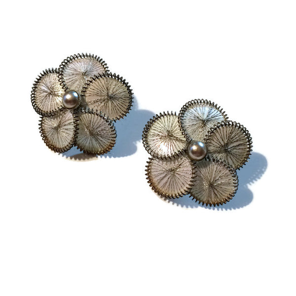 Shimmering Webbed Petal Flower Clip Earrings circa 1940s