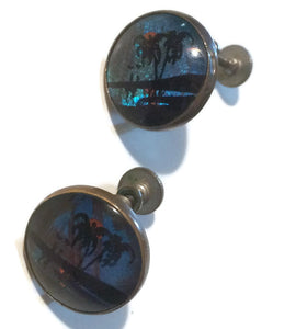 Domed Glass Palm Tree Image Clip Earrings circa 1940s