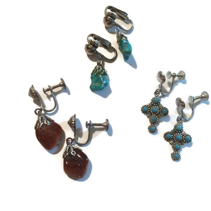 Three Pairs Screwback Clip Earrings Turquoise and Stones circa 1940s