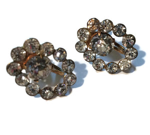 Oval Frame Rhinestone Clip Earrings circa 1940s