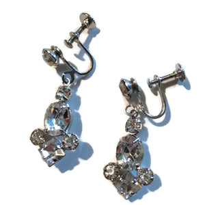 Brilliant Sparkling Drop Rhinestone Clip Earrings circa 1940s