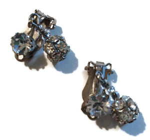 Rhinestone Ball Drop Dangling Clip Earrings circa 1940s
