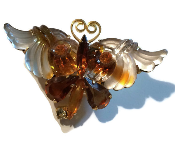 Amber Carved Plastic and Rhinestone Butterfly Brooch circa 1960s