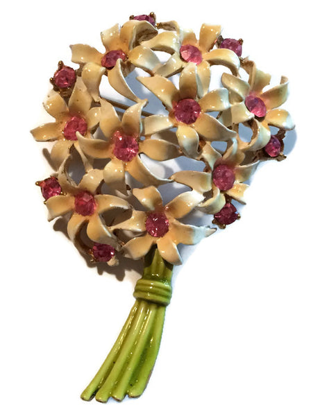 Fresh Pretty Pink Enameled Metal Flower Bouquet Brooch with Pink Rhinestones circa 1960s