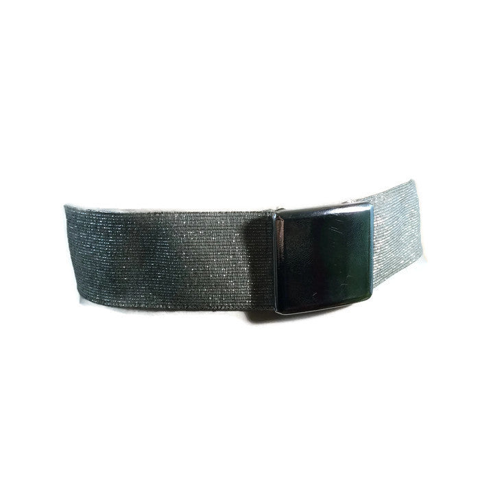 Metallic Silver Elastic Stretch Belt w/ Leather Clasp circa 1960s