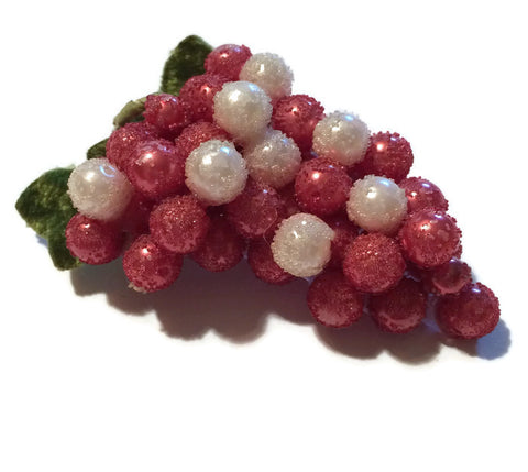 Sugared Pink-Purple Grape Cluster Brooch circa 1940s